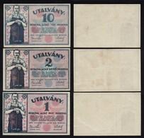 Ungarn - Hungary UTALVANY 1,2,10 Korona 1919 Banknoten VF/XF (2/3)   (25504 - Hungary
