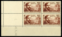 """N° 462 Cote 63 €. Coin Daté Du 9/5/40. Bloc De Quatre """"Debussy"""". Voir Description - Angoli Datati"""