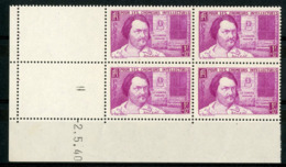 "N° 463 ** (MNH) Cote 63 €. Coin Daté Du 2/5/40. Bloc De Quatre ""Balzac"". - Angoli Datati"