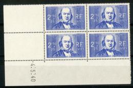 "N° 464 ** (MNH) Cote 63 €. Coin Daté Du 4/5/40. Bloc De Quatre ""C. Bernard"". - Angoli Datati"