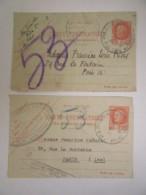 France - 2 Cartes Penumatiques Paris Circulées - Timbres 3f Pétain Type Bersier - Postal Stamped Stationery