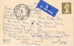 34615, Postal Aerea PRESTON (England) 1974. Fechador CARTERIA Identificacion BARCELONA - 1931-Hoy: 2ª República - ... Juan Carlos I