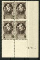 """N° 465 ** (MNH) Cote 10€. Coin Daté Du 8/10/40. Bloc De Quatre """"Au Profit Des Victimes De La Guerre"""". - Ecken (Datum)"""