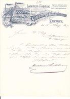 Erfurt 1897, Briefbogen Lampen-Fabrik Kaestner & Toebelmann Mit Fabrikansicht - Deutschland