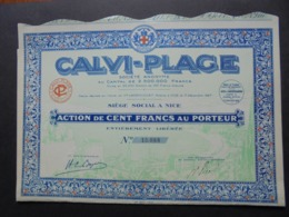 FRANCE, CORSE, CALVI-PLAGE - ACTION DE 100 FRS - NICE 1929 -  DECO - Shareholdings