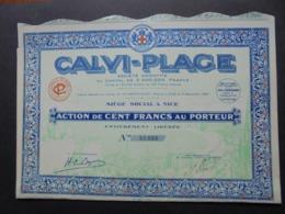 FRANCE, CORSE, CALVI-PLAGE - ACTION DE 100 FRS - NICE 1929 -  DECO - Azioni & Titoli
