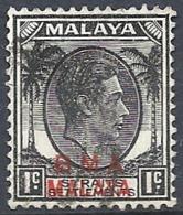 "Malaya, 1945 Overprinted ""B.M.A. Malaya"", 1c Black # S.G. 1 - Michel 1 - Scott 256  USED - Straits Settlements"