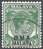 "Malaya, 1945 Overprinted ""B.M.A. Malaya"", 3c Green # S.G. 4  - Michel 3 - Scott 258  USED - Straits Settlements"