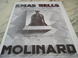 ANCIENNE PUBLICITE LES CLOCHES DE NOEL PARFUM  DE MOLINARD 1930 - Parfum & Cosmetica