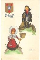 Dépt 62 - BOULOGNE-SUR-MER - Pêcheur Et Jeune Femme Costume Folklorique (illustrateur ADDI) - Blason De Boulogne-sur-Mer - Boulogne Sur Mer