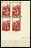"""N° 475 ** (MNH) Cote 11 €. Coin Daté Du 25/11/40. Bloc De Quatre """"Pour Nos Prisonniers De Guerre"""". - Ecken (Datum)"""