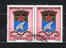 MADAGASCAR   N° 439A   EN  PAIRE  OBLITERE   COTE 1.00€    ARMOIRIE - Madagascar (1960-...)