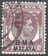 "Malaya, 1945 Overprinted ""B.M.A. Malaya"", 10c Dull Vio (I) # S.G. 8 - Michel 7 - Scott 262  USED - Straits Settlements"