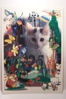 CHAT - SOURIS  -  ( Nicole  BERTET-CUCUROLO  Illustrateur  ) -  ( Pas De Reflet Sur L'original ) - Künstlerkarten