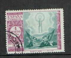 SPAIN 1940 Pilar 4+1 Pesetas Used High Value Stamp - 1931-Hoy: 2ª República - ... Juan Carlos I