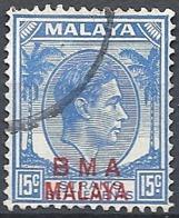 "Malaya, 1945 Overprinted ""B.M.A. Malaya"", 15c Ultra (R) # S.G. 12a - Michel 9ay - Scott 265  USED - Straits Settlements"