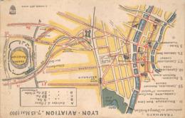 Lyon Aviation 1910 Villeurbanne Bron Plan Tramways Tramway - Lyon