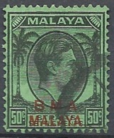 "Malaya, 1945 Overprinted ""B.M.A. Malaya"", 50c Blk, Emer # S.G. 14a - Michel 11 - Scott 267  USED - Straits Settlements"