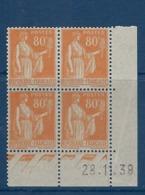 """FR Coins Datés YT 366 """" Type Paix 80c. Orange """"  Neuf** Du 28.11.39 - Coins Datés"""