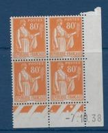 """FR Coins Datés YT 366 """" Type Paix 80c. Orange """"  Neuf** Du 7.10.38 - Coins Datés"""
