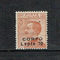 ITALY Corfù 1923 70 Lepta On 30cent MH - 8. Ocupación 1ra Guerra