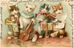Themes Div-ref BB559- Chat - Chats Humanisés -illustrateurs - Illustrateur - Cats - Cat - Musique -chats Musiciens - - Katzen