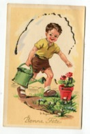 Bonne Fête - Enfant Fleur Arrosoir - Signé Jeanne Lagarde - Künstlerkarten
