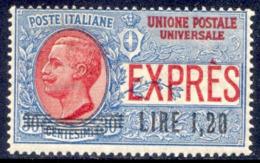 """1921 ESPRESSO SOVRASTAMPATO """"LIRE 1,20 SU CENT. 30"""" N.5 NUOVO* TRACCIA DI LINGUELLA - MVVLH  EXTRA FINE - 1900-44 Victor Emmanuel III."""