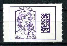 ADHESIF N° 1177 DATAMATRIX MONDE DE FEUILLE AVEC LE GRAMMAGE 20 Gr NEUF** - 2013-... Marianne Van Ciappa-Kawena
