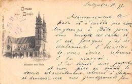 Switzerland Schweiz Gruss Aus Basel Muenster Mit Pfalz AK 1897 1898 - Switzerland