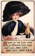 "Woman's Eye, Love, Giant Hat, Champagne, Fred Spurgin Signed ""Toast"" Postcard - Künstlerkarten"