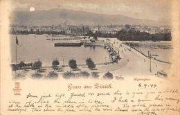 Switzerland Gruss Aus Zuerich, Alpenquai, Tram, Bridge, Panorama Sunset? AK 1899 - Switzerland