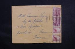ESPAGNE - Cachet De Censure Au Verso D' Une Enveloppe De Barcelone Pour La France  - L 46872 - Marques De Censures Nationalistes