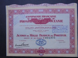 FRANCE, PARIS 1908 - CIE FRANCAISE DES PHOSPHATES DE L'OCEANIE - ACTION DE 1000 FRS - - Non Classés