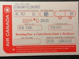 Old Document Heavy Paper AIR CANADA Boarding Pass New York Toronto Cca 1960's / '70's. Airwais Air Line - Instapkaart
