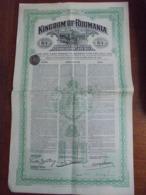 ROUMANIE - 1922 - KINGDOM OF ROUMANIA - OBLIGATION DE £ 10 - EMPRUNT 4% - BELLE VIGNETTE - Shareholdings