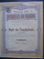 POLOGNE - STE DES PETROLES DE POLONA - PART DE FONDATEUR - LILLE 1914 - Non Classés