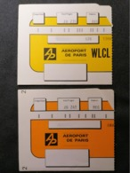Old Document Lot X2 Heavy Paper AEROPORT DE PARIS  AIRPORT Cca 1960's / '70's. Airwais Air Line France - Instapkaart