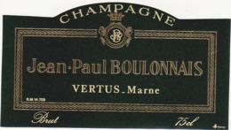 Etiquette Champagne BRUT Jean-Paul BOULONNAIS à VERTUS (51) / 75 Cl - Champagne