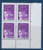 """FR Coins Datés YT 3088 """" Luquet 50c. Violet """" Neuf** Du 28.11.97 - Ecken (Datum)"""