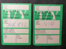 Old Document Lot X2 Heavy Paper BOARDING PASS T/Y Cca 1960's / '70's. Airwais Air Line - Instapkaart