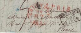 Pli De Courtrai => Paris, 8 Juin 1835. Cachets LPB1R Et Belgique Par Lille Adressé Au Baron D'Ingelmunster De Montblanc - 1830-1849 (Independent Belgium)