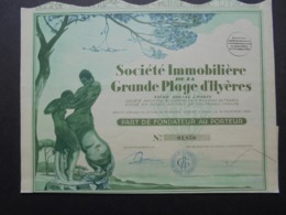 FRANCE - VAR - STE IMMOBILIERE DE LA GRANDE PLAGE D'HYERES - PART DE FONDATEUR - BELLE ILLUSTRATION - Shareholdings