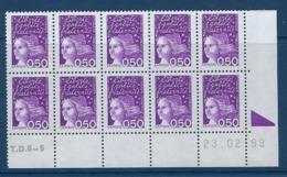 """FR Coins Datés YT 3088b Type II Bloc De 10 """" Luquet 50c. Violet """" Neuf** Du 23.02.99 - Ecken (Datum)"""