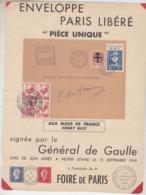 LIBERATION: ENVELOPPE PARIS LIBERE 15 SEPTEMBRE 1945 FOIRE DE PARIS - Libération