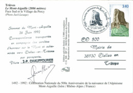 LCTN58/2 - CP COMM. ASCENSION MONT AIGUILLE 1492 ET NAISSANCE ALPINISME SIGNATURE DU PILOTE - Wintersport (Sonstige)