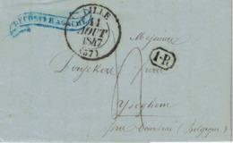 Pli De Lille => Iseghem, 9/08/1847. Cachets1R, Iseghem, France Par Mouscron Adressé Aux Frères Deryckers - 1830-1849 (Belgique Indépendante)