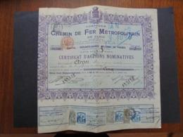 FRANCE - PARIS 1904 - CIE DU CHEMIN DE FER METROPOLITAIN DE PARIS  - CERTIFICAT ACTIONS NOMINATIVE 250 FRS - Shareholdings