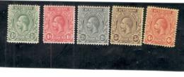 SAINT VINCENT 1913-17:Scott104-6,108-9(Michel85-7,89-90)mh* - St.Vincent (...-1979)