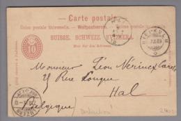 """CH Ganzsache Mit Privatzudruck 1889-03-07 Rigi-Kulm Nach Hal Belgien """"Vitznau-Rigi-Bahn"""" - Entiers Postaux"""